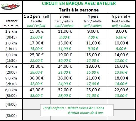 Tableau tarifs embarcadère 1