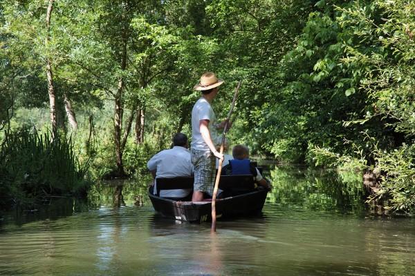 Barque avec guide-batelier pour visiter le marais